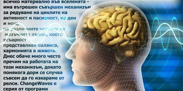 Здравето, доброто самочувствие, силата, изобщо животът на всеки човек  се решава от това дали съществува равновесие в преходите от едно  състояние на съзнанието в друго. Във всеки от нас - както и във всичко  материално във вселената - има вътрешен съвършен механизъм за редуване  на циклите на активност и пасивност, на ден и нощ, на различните  честоти на мозъчните вълни, което всъщност представлява баланса,  хармонията в живота. Днес обаче много често пречим на работата на този  механизъм, докато понякога дори се случва съвсем да го изкараме от  релси. ChangeWaves e серия от програми за слушане, които да помогнат  възстановяването на естествения ритъм на мозъчните вълни...